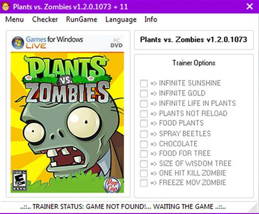 plantsvszombies12010731 Plants vs Zombies 1.2.0.1073 +11 Trainer