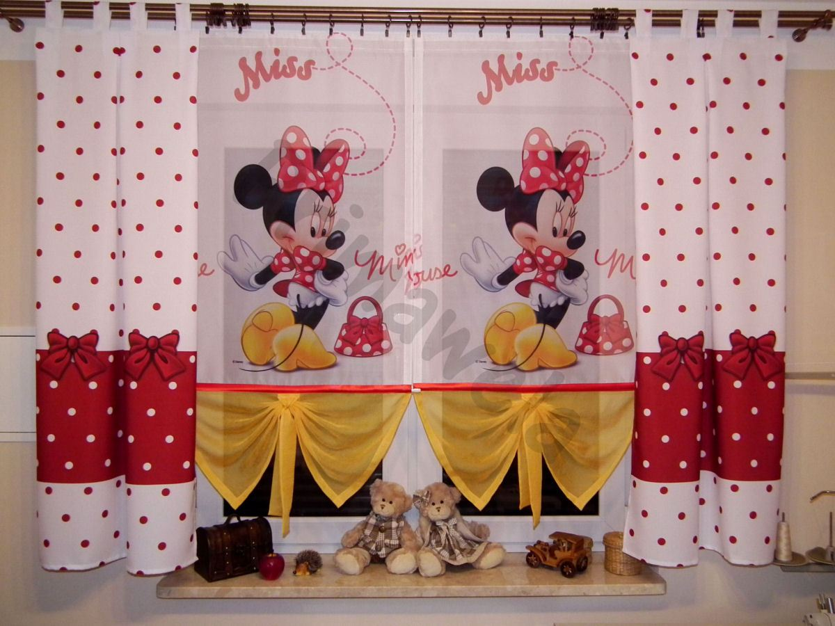 disney minnie gardine kindergardine kinderzimmer baby gardine vorh nge. Black Bedroom Furniture Sets. Home Design Ideas