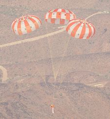 Image above: (28 Aug. 2012) -- A dart-<br /> shaped test vehicle that is used to<br /> simulate Orion�s parachute compartment<br /> descends above the skies of the U.S.<br /> Yuma Army Proving Ground in Arizona.<br /> Engineers were testing the maximum<br /> pressure Orion�s chutes might face<br /> when returning from exploration<br /> missions. Photo credit: NASA<br /> <a href='http://www.nasa.gov/exploration/systems/mpcv/gallery/parachute_testing/index.html' class='bbc_url' title='External link' rel='nofollow external'>� View images</a>